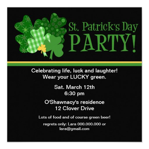 Golden Clover St/ Patrick's Day Party Invitation