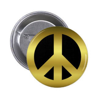 Golden CND Peace Symbol on Black 6 Cm Round Badge