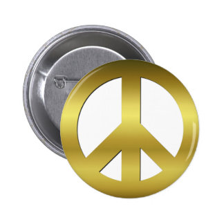 Golden CND Peace Symbol on White 6 Cm Round Badge