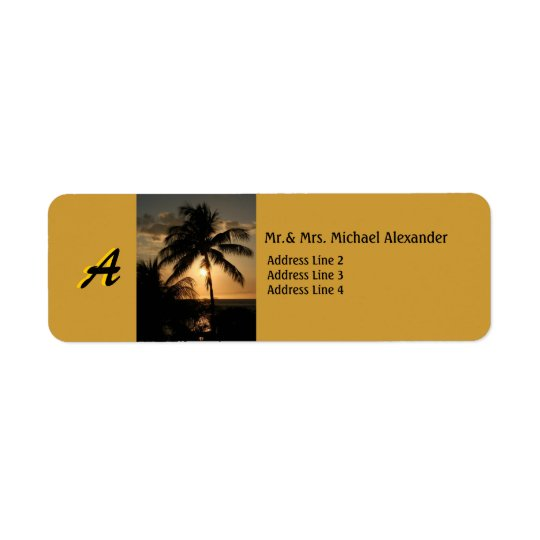 Golden Coastline Sunset Palm Tree with Monogram Return Address Label