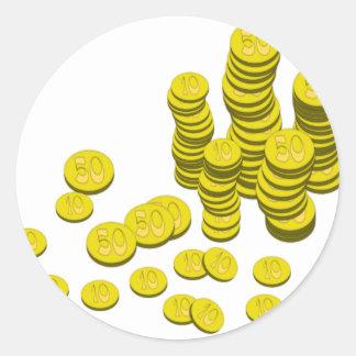Golden Coins Classic Round Sticker