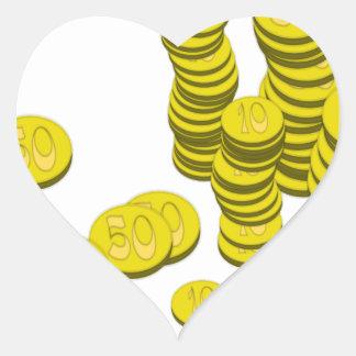 Golden Coins Heart Sticker