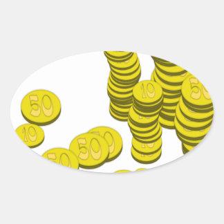 Golden Coins Oval Sticker