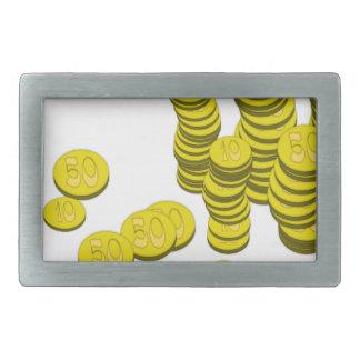 Golden Coins Rectangular Belt Buckle