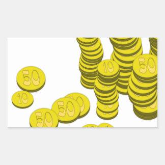 Golden Coins Rectangular Sticker