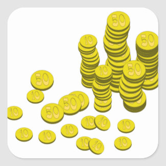 Golden Coins Square Sticker