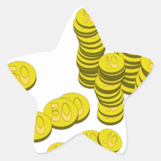 Golden Coins Star Sticker