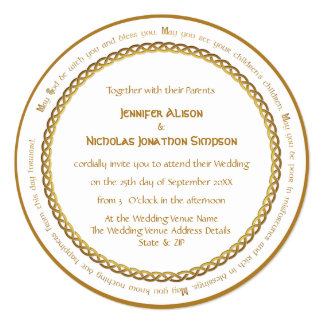 Golden Color Celtic Knot - Irish Wedding Blessing Card