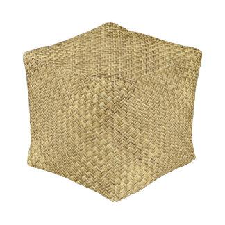 Golden Colored Basket Weave Geometric Pattern Pouf
