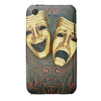Golden comedy and tragedy masks on patterned iPhone 3 cover