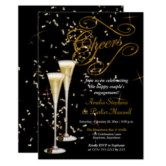 Golden Confetti Champagne Cheers Engagement Party Card