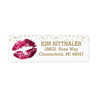 Golden Confetti & Pink Lips- Address Return Address Label