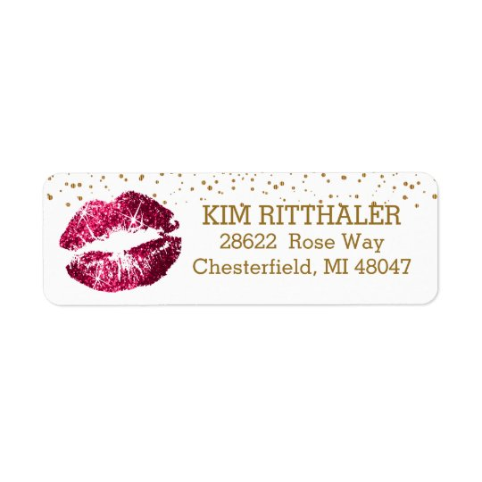 Golden Confetti & Pink Lips- Address Return Address Label