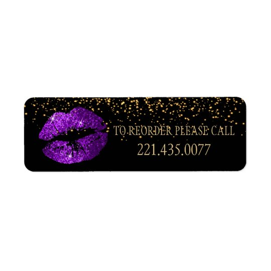 Golden Confetti & Purple Lips 2 - Reorder Return Address Label