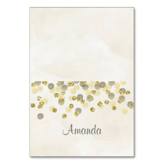 Golden Confetti Watercolor Place Card Table Card