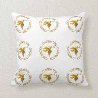 Golden Confirmation and Holy Spirit Throw Cushion
