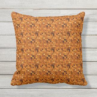 Golden Copper Tiles Pattern Throw Pillow