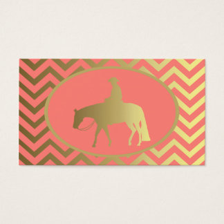 Golden Coral Chevrons Western Pleasure Horse Business Card