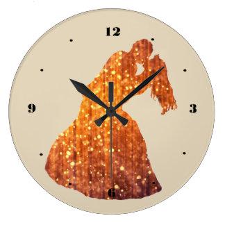 Golden Couple, Kiss, Romance Wall Clock