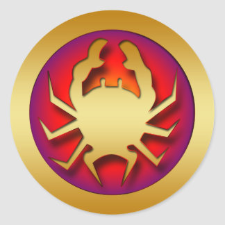 GOLDEN CRAB ROUND STICKER