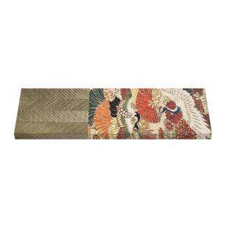 Golden Crane on Silk Tapestry Canvas Print