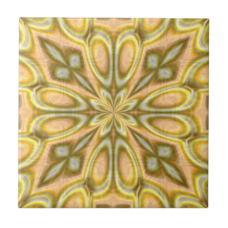 Golden Crazy Daisy Small Square Tile