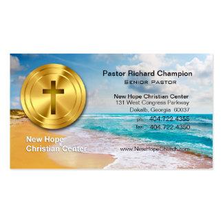 Golden Cross Beach Christian Minister/Pastor Business Card Template