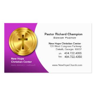 Golden Cross Christian Symbol Minister/Pastor Business Card Template
