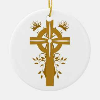 Golden Cross Floral Double Sided Round Ornament