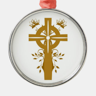 Golden Cross Floral Silver Framed Round Ornament