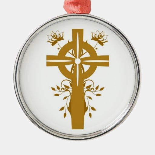 Golden Cross Floral Silver Framed Round Ornament