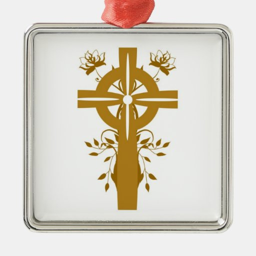 Golden Cross Floral Silver Framed Square Ornament