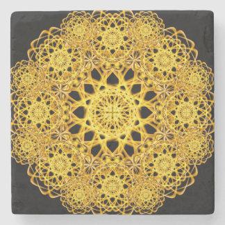 Golden Cross Mandala Stone Beverage Coaster