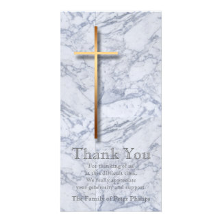 Golden Cross Marble 1 Sympathy Thank You Custom Photo Card