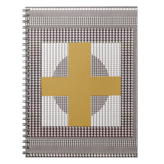 Golden Cross Sparkle White Crystal Beads Gifts Notebooks