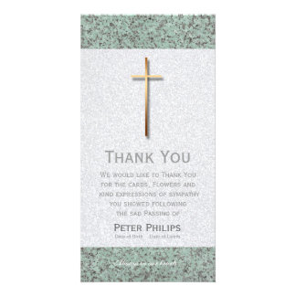 Golden Cross Stone 1 Funeral Thank You Photo Card