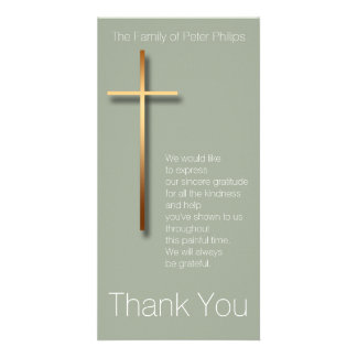 Golden Cross Sympathy Thank You Choose Color 2 Photo Cards