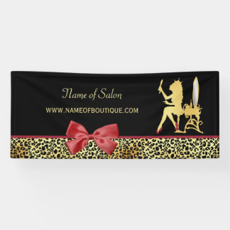 Golden Crown Leopard Print With Red Bow Hair Salon Banner