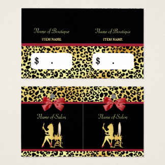 Golden Crown Leopard Print With Red Bow Hair Salon Business Card
