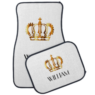Golden Crown Personalized Name White Car Mat