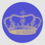 Golden Crown Round Sticker