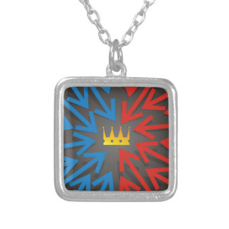 Golden crown silver plated necklace