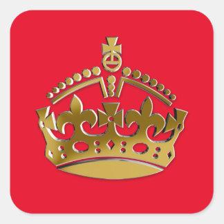 Golden crown square sticker