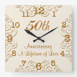 Golden Customizable 50th Wedding Anniversary Clock