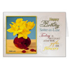 Golden daffodils birthday card for sister-in-law