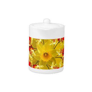 Golden Daffodils Butterfly Red Art Design