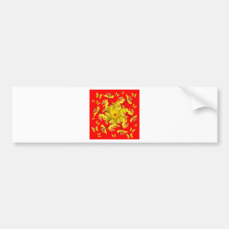 Golden Daffodils Butterfly Red Art Design Bumper Sticker