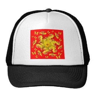 Golden Daffodils Butterfly Red Art Design Cap