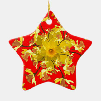 Golden Daffodils Butterfly Red Art Design Ceramic Star Decoration
