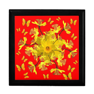 Golden Daffodils Butterfly Red Art Design Large Square Gift Box